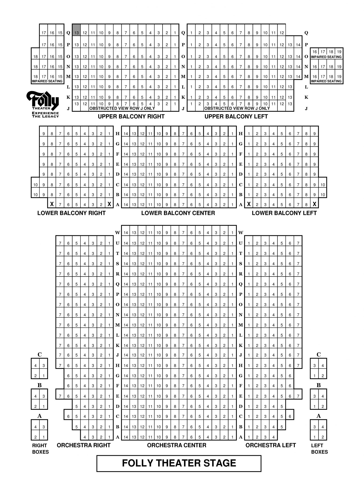 Folly-Theater-Seating-Map - The Folly TheaterThe Folly Theater