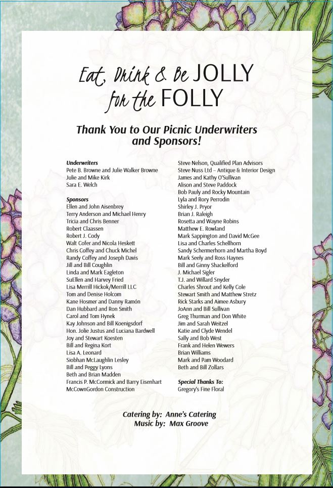 A Thanks to all our sponsors for the 2017 Folly Garden Party!